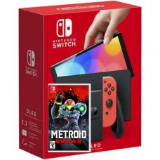 Nintendo Switch (OLED model) Neon Blue-Red + Игра Metroid Dread (русская версия)