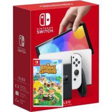 Nintendo Switch (OLED model) White + Игра Animal Crossing: New Horizons (русская версия)
