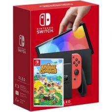 Nintendo Switch (OLED model) Neon Blue-Red + Игра Игра Animal Crossing: New Horizons (русская версия)