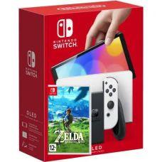 Nintendo Switch (OLED model) White + Игра The Legend of Zelda: Breath of the Wild (русская версия)