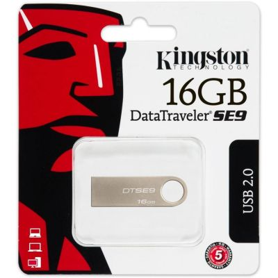 Флешка 16Gb Kingston DataTraveler SE9 USB2.0 Silver (DTSE9H/16GB)