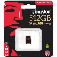 Карта памяти Kingston Canvas React microSDXC UHS-I U3 512GB + SD-adapter (SDCR/512GBSP)