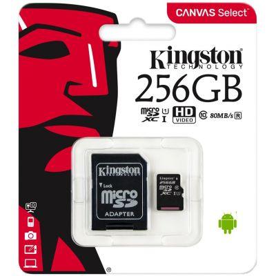 Карта памяти Kingston Canvas Select microSDXC UHS-I 256GB + SD-adapter (SDCS/256GBSP)