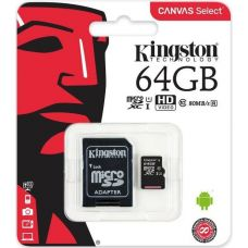 Карта памяти Kingston Canvas Select microSDXC UHS-I 64GB + SD-adapter (SDCS/64GB)