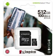 Карта памяти Kingston Canvas Select Plus microSDXC UHS-I U3 V30 A1 512GB + SD-адаптер (SDCS2/512GB)
