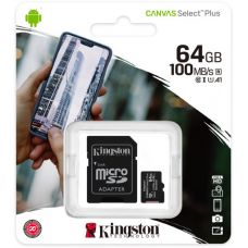 Карта памяти Kingston Canvas Select Plus microSDXC UHS-I U1 V10 A1 64GB + SD-адаптер (SDCS2/64GB)