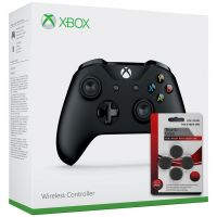Microsoft Xbox One S Wireless Controller with Bluetooth (Black) + Thumb Grips (накладки на стики, 4 шт.)