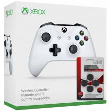 Microsoft Xbox One S Wireless Controller with Bluetooth (White) + Thumb Grips (накладки на стики, 4 шт.)