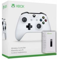 Microsoft Xbox One S Wireless Controller with Bluetooth (White) + Адаптер беспроводного геймпада для Windows (Upgrade Version) (Xbox One)