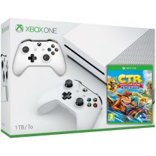 Microsoft Xbox One S 1Tb White + Crash Team Racing Nitro-Fueled (английская версия) + доп. Wireless Controller with Bluetooth (White)
