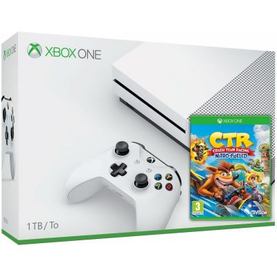 Microsoft Xbox One S 1Tb White + Crash Team Racing Nitro-Fueled (английская версия)