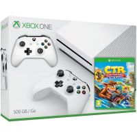 Microsoft Xbox One S 500Gb White + Crash Team Racing Nitro-Fueled (английская версия) + доп. Wireless Controller with Bluetooth (White)
