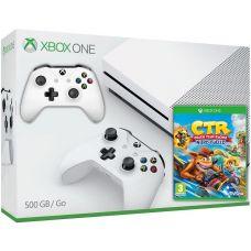 Microsoft Xbox One S 500Gb White + Crash Team Racing Nitro-Fueled (английская версия) + доп. Wireless Controller with Bluetooth (White)