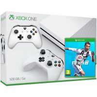 Microsoft Xbox One S 500Gb White + FIFA 19 (русская версия) + доп. Wireless Controller with Bluetooth (White)