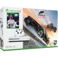 Microsoft Xbox One S 500Gb White + FIFA 18 (русская версия) + Forza Horizon 3 (русская версия)