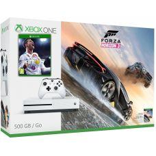 Microsoft Xbox One S 500Gb White + FIFA 18 (русская версия) + Forza Horizon 3 (русская версия)
