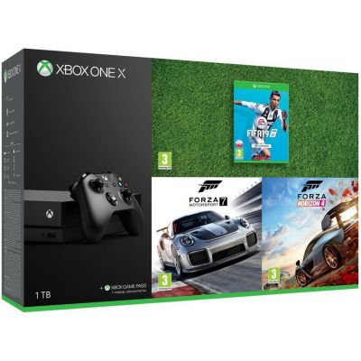Microsoft Xbox One X 1Tb + Fifa 19 (русская версия) + Forza Motorsport 7 (ваучер на скачивание) (русская версия) + Forza Horizon 4 (русская версия)
