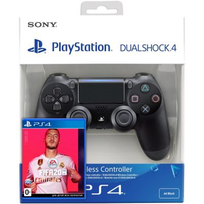FIFA 20 (русская версия) (PS4) + Sony DualShock 4 Version 2 (black)