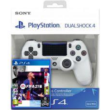 FIFA 21 (русская версия) (PS4) + Sony DualShock 4 Version 2 (white)