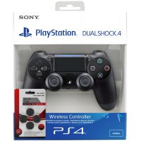 Sony DualShock 4 Version 2 (black) + Thumb Grips (накладки на стики, 4 шт.)
