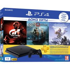 Sony Playstation 4 Slim 1Tb + Gran Turismo Sport + God of War 4 + Horizon Zero Dawn. Complete Edition (русская версия) + Подписка PlayStation Plus (3 месяца)