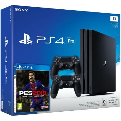 Sony Playstation 4 PRO 1Tb + Pro Evolution Soccer 2019 (русская версия) + DualShock 4 (Version 2) (black)