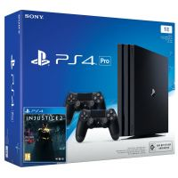 Sony Playstation 4 PRO 1Tb + Injustice 2 (русская версия) + DualShock 4 (Version 2) (black)