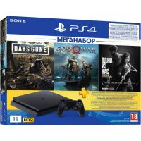 Sony Playstation 4 Slim 1Tb + Days Gone + God Of War 4 + The Last of Us (русские версии) + Подписка PlayStation Plus (3 месяца)