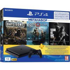 Sony Playstation 4 Slim 1Tb + Days Gone + God Of War 4 + The Last of Us (русские версии) + Подписка PlayStation Plus (3 месяца)
