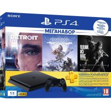 Sony Playstation 4 Slim 1Tb + Detroit: Become Human/Стать человеком + Horizon Zero Dawn Complete Edition + The Last of Us/Одни из Нас (русская версия) + Подписка PlayStation Plus (3 месяца)