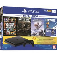 Sony Playstation 4 Slim 1Tb + GTA V Premium Edition + Days Gone/Жизнь После + Horizon: Zero Dawn. Complete Edition (русская версия) + Fortnite Neo Versa (ваучер на дополнения) + Подписка PlayStation Plus (3 месяца)