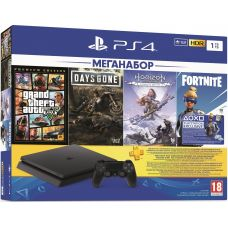 Sony Playstation 4 Slim 1Tb + GTA V Premium Edition + Days Gone/Жизнь После + Horizon Zero Dawn Complete Edition (русская версия) + Fortnite Neo Versa (ваучер на дополнения) + Подписка PlayStation Plus (3 месяца)
