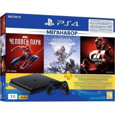 Sony Playstation 4 Slim 1Tb + Spider-Man + Horizon Zero Dawn Complete Edition + Gran Turismo Sport (русские версии) + Подписка PlayStation Plus (3 месяца)