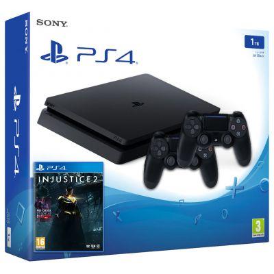Sony Playstation 4 Slim 1Tb + Injustice 2 (русская версия) + DualShock 4 (Version 2) (black)