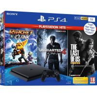 Sony Playstation 4 Slim 1Tb + Ratchet & Clank + Uncharted 4: Путь вора + The Last of Us/Одни из Нас (русская версия)