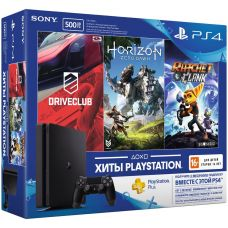 Sony Playstation 4 Slim 500Gb + DriveClub + Horizon: Zero Dawn + Ratchet & Clank (русская версия) + Подписка PlayStation Plus (3 месяца)