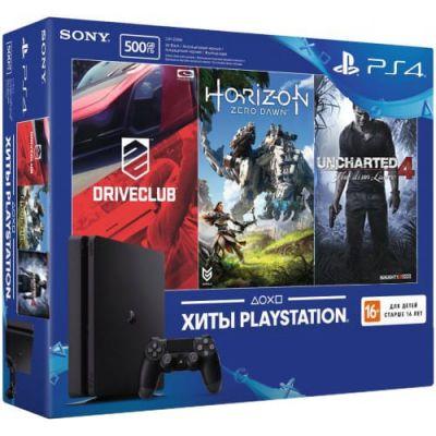 Sony Playstation 4 Slim 500Gb + DriveClub + Horizon: Zero Dawn + Uncharted 4 (русская версия)
