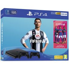 Sony Playstation 4 Slim 500Gb + FIFA 19 (русская версия) + DualShock 4 (Version 2) (black)