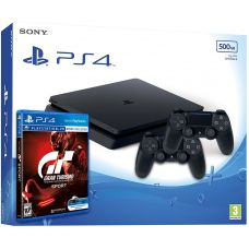 Sony Playstation 4 Slim 500Gb + Gran Turismo Sport (русская версия) + DualShock 4 (Version 2) (black)