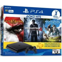 Sony Playstation 4 Slim 500Gb + God of War III Remastered + Uncharted 4 + Horizon Zero Dawn (русская версия) + Подписка PlayStation Plus (3 месяца)