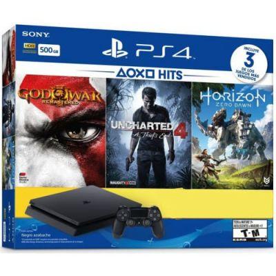 Sony Playstation 4 Slim 500Gb + God of War III Remastered + Uncharted 4 + Horizon Zero Dawn (русская версия)