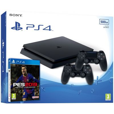 Sony Playstation 4 Slim 500Gb + Pro Evolution Soccer 2019 (русская версия) + DualShock 4 (Version 2) (black)