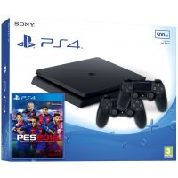 Sony Playstation 4 Slim 500Gb + PES 2018 (русская версия) + DualShock 4 (Version 2) (black)