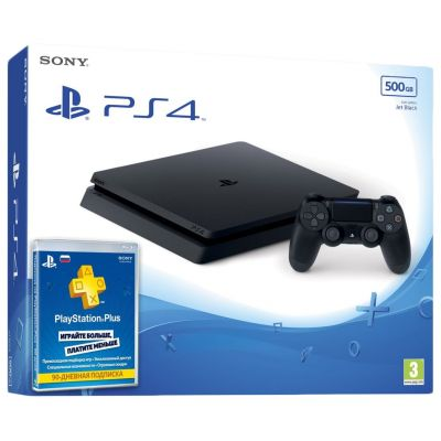 Sony Playstation 4 Slim 500Gb + Подписка PlayStation Plus (3 месяца)