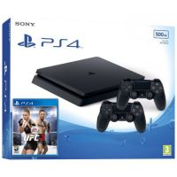 Sony Playstation 4 Slim 500Gb + UFC 2 + DualShock 4 (Version 2) (black)