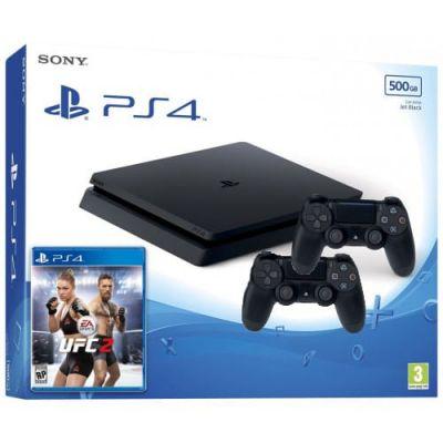 Sony Playstation 4 Slim 500Gb + UFC 2 + DualShock 4 (Version 2) (black)