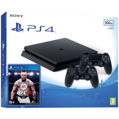 Sony Playstation 4 Slim 500Gb + UFC 3 (русская версия) + DualShock 4 (Version 2) (black)
