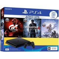 Sony Playstation 4 Slim 500Gb + Gran Turismo Sport + Uncharted 4. Путь Вора + Horizon Zero Dawn. Complete Edition (русская версия)