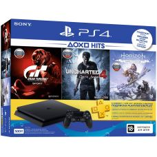 Sony Playstation 4 Slim 500Gb + Gran Turismo Sport + Uncharted 4. Путь Вора + Horizon Zero Dawn. Complete Edition (русская версия) + Подписка PlayStation Plus (3 месяца)