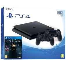 Sony Playstation 4 Slim 500Gb + Injustice 2 (русская версия) + DualShock 4 (Version 2) (black)